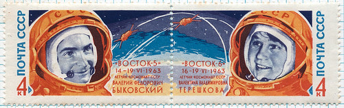 soviet double space stamp, 1963 | by maraid
