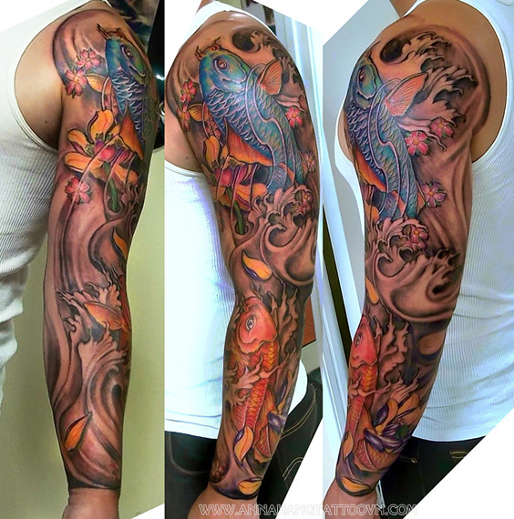Tattoo design koifish full sleeve for How to make a tattoo sleeve