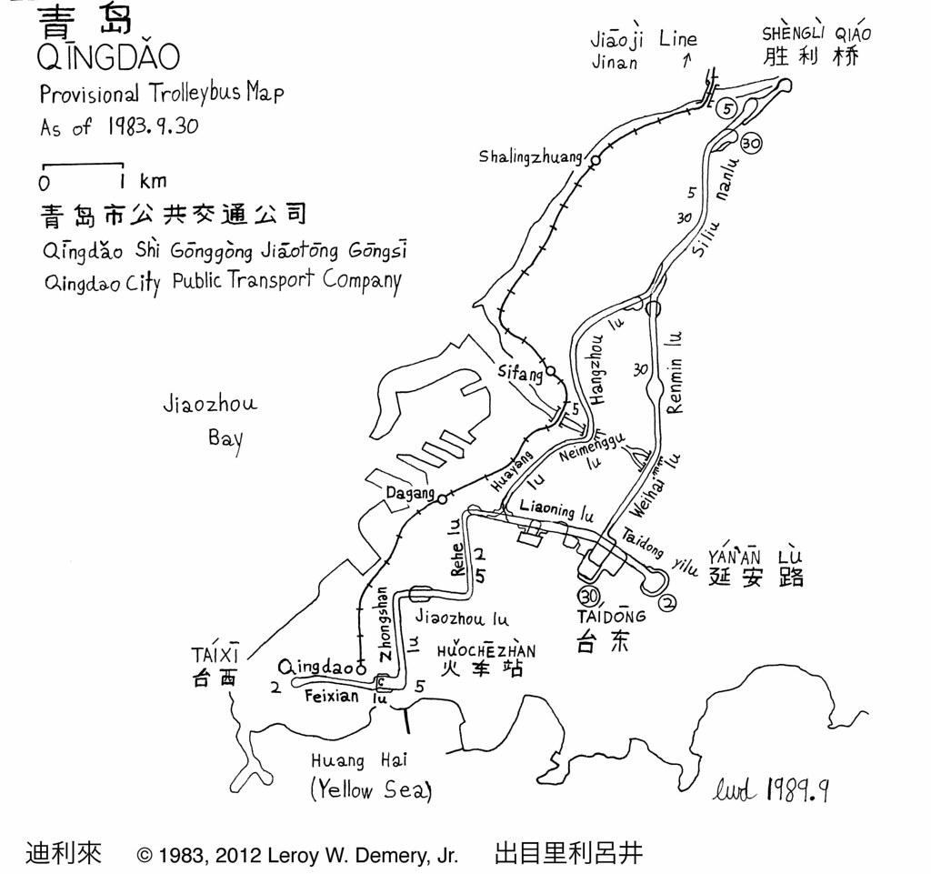 Qingdao Trolleybus Overhead Map The Qingdao Trolleyb Flickr - Jiaozhou city map