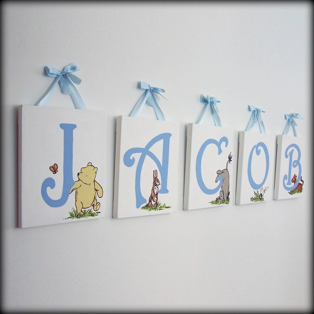 Classic winnie the pooh name wall art flickr photo for Baby name letters decoration