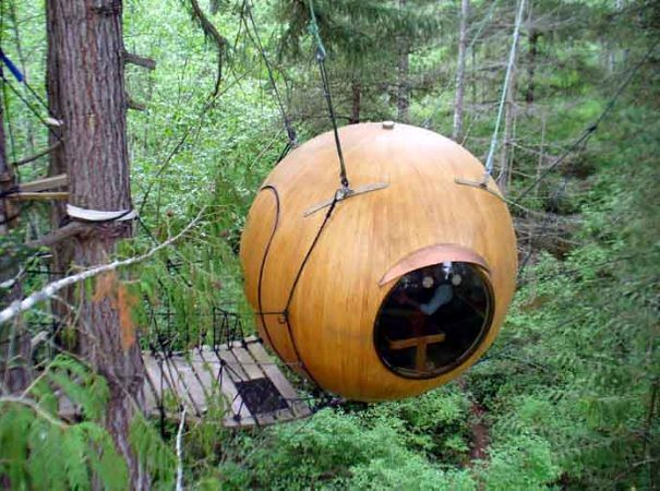 Suspended in a coastal rainforest on Vancouver Island, these treehouse pods sway quietly among the trees, offering views unmatched by any traditional accommodations. The cozy spheres are perfect for a couple seeking relaxation and privacy.