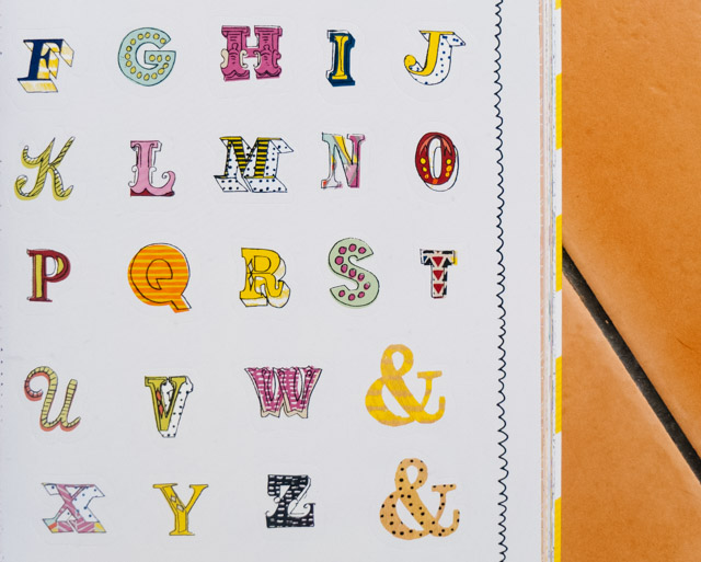 collaged alphabet stickers