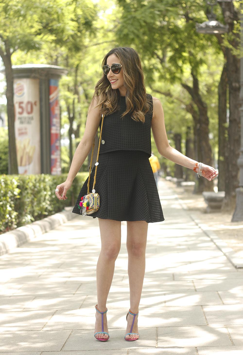 Little black dress maje carolina herrera sandals bag outfit fashion style summer sunnies03