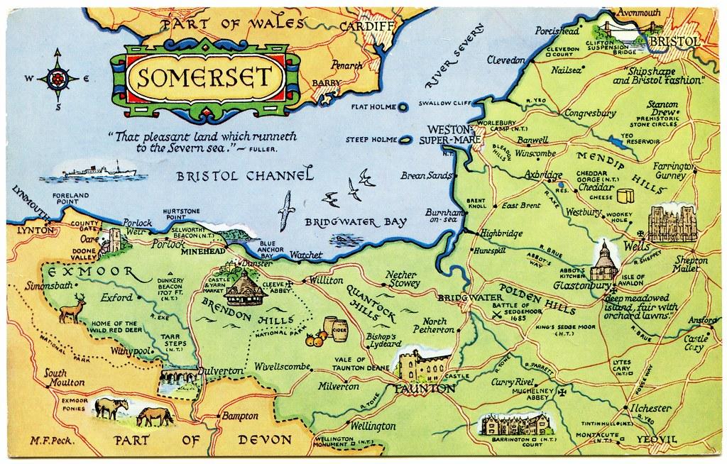 Postcard map of Somerset   Drawn by M F Peck. J Salmon, Ltd ...