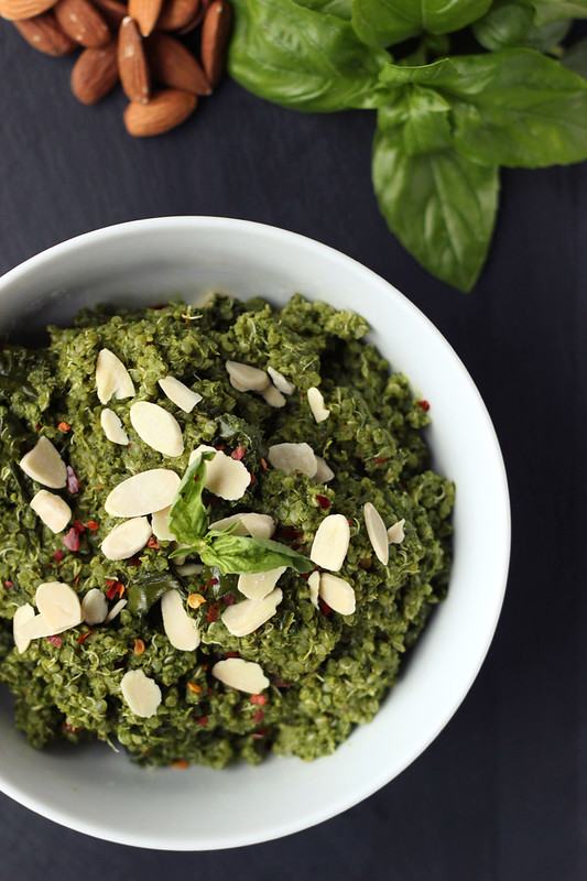 Sprouted Quinoa Bowl with Kale Almond Pesto {Gluten-free and Vegan}
