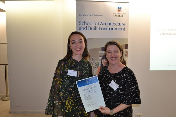 2015 Winner: Louisa Rebellato - Presented by Presented by Nicolette di Lernia (AIA-SA Chapter Manager)