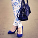 new blue and white floral print jeans -  blue handbag-blue pumps