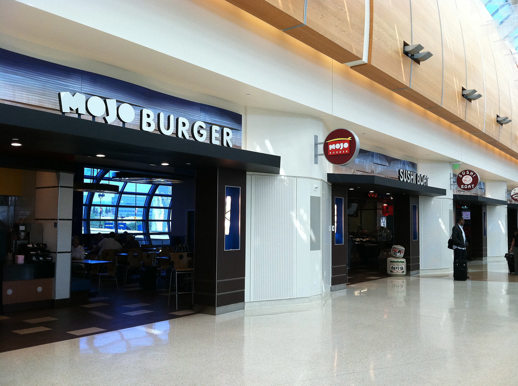 Interior restaurant design exterior signage airport re