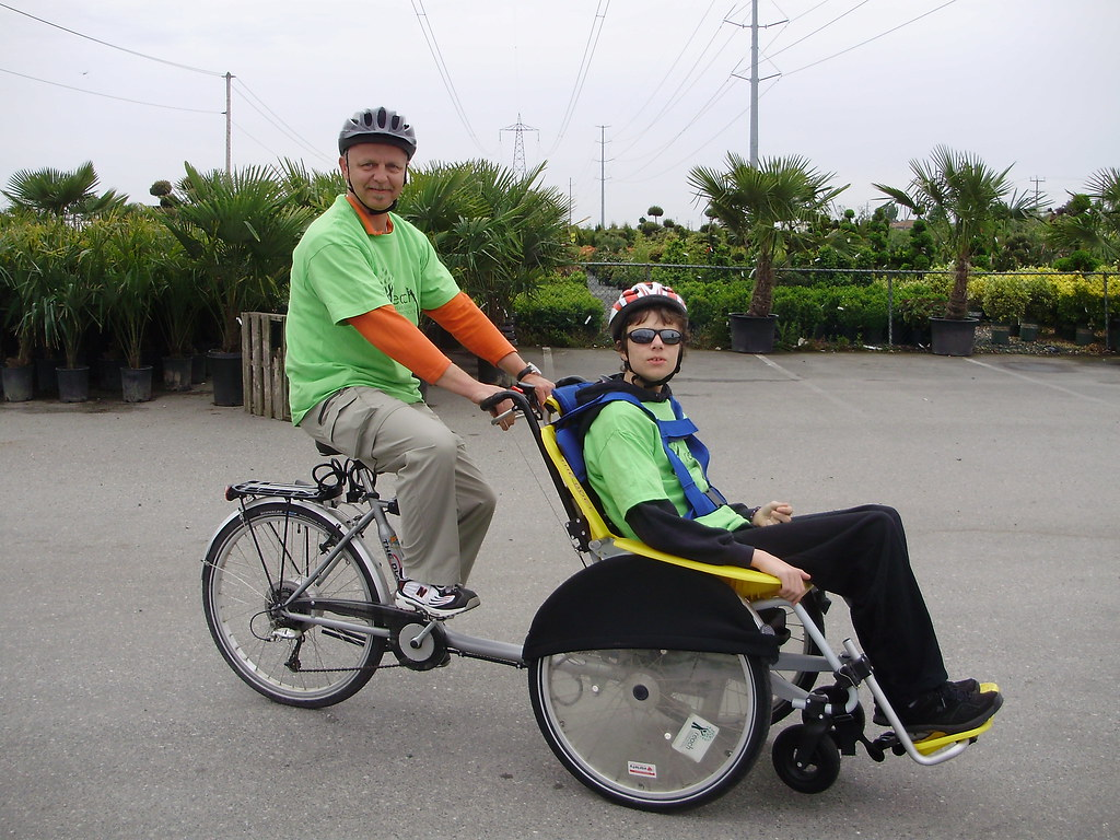 Rob and son Chris test driving the duet wheelchair bike ...