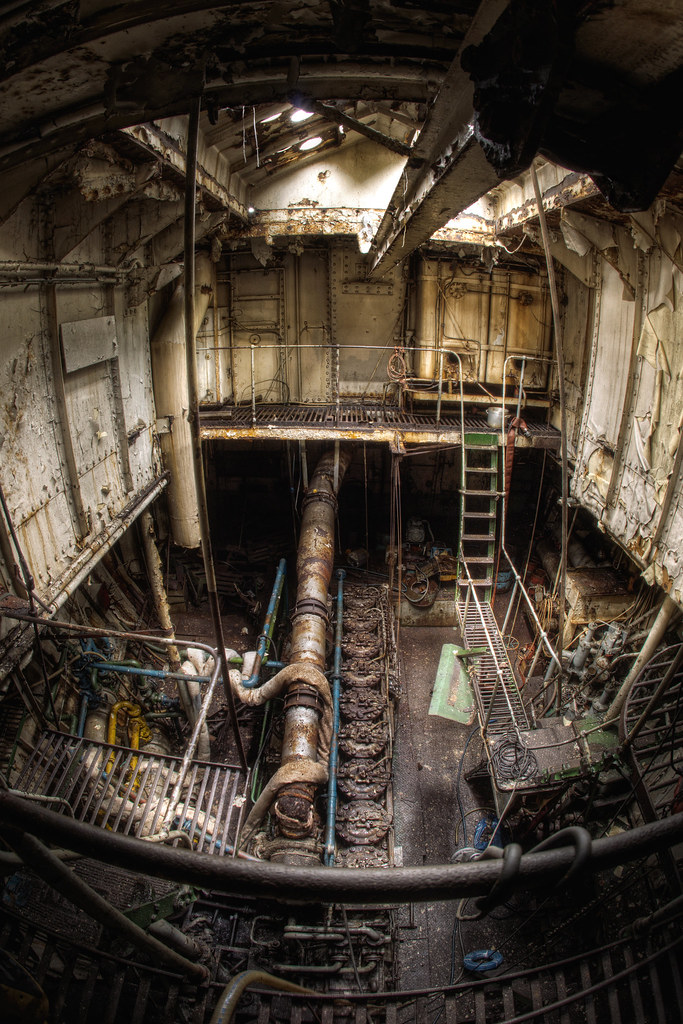 Steam Ship Engine Room: Wickman 9 Cylinder Diesel Engine