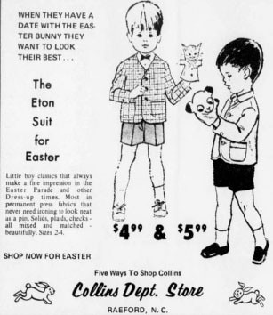Newspaper Advertisement For Collins Department Store 1969