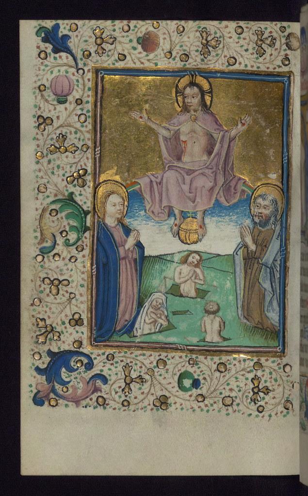 illuminated manuscript  book of hours in dutch  last judgm