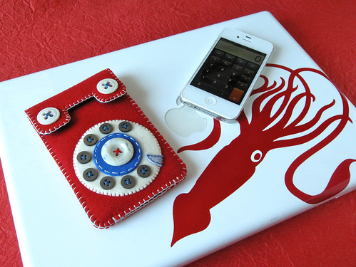 Dial Phone iPhone Case (red & blue) | by hine