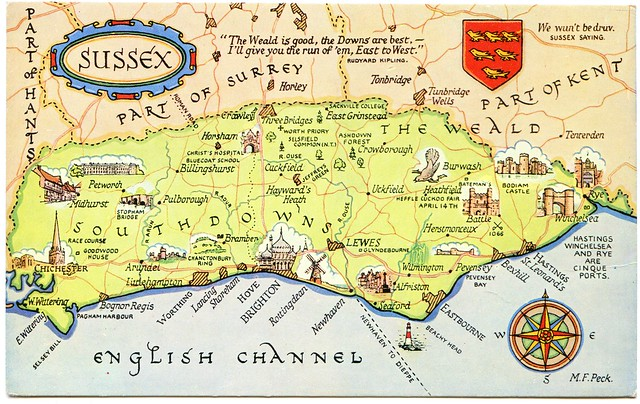 Postcard map of Sussex