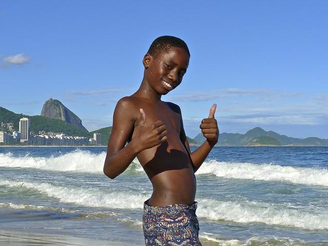 Young Black Boy at Beach