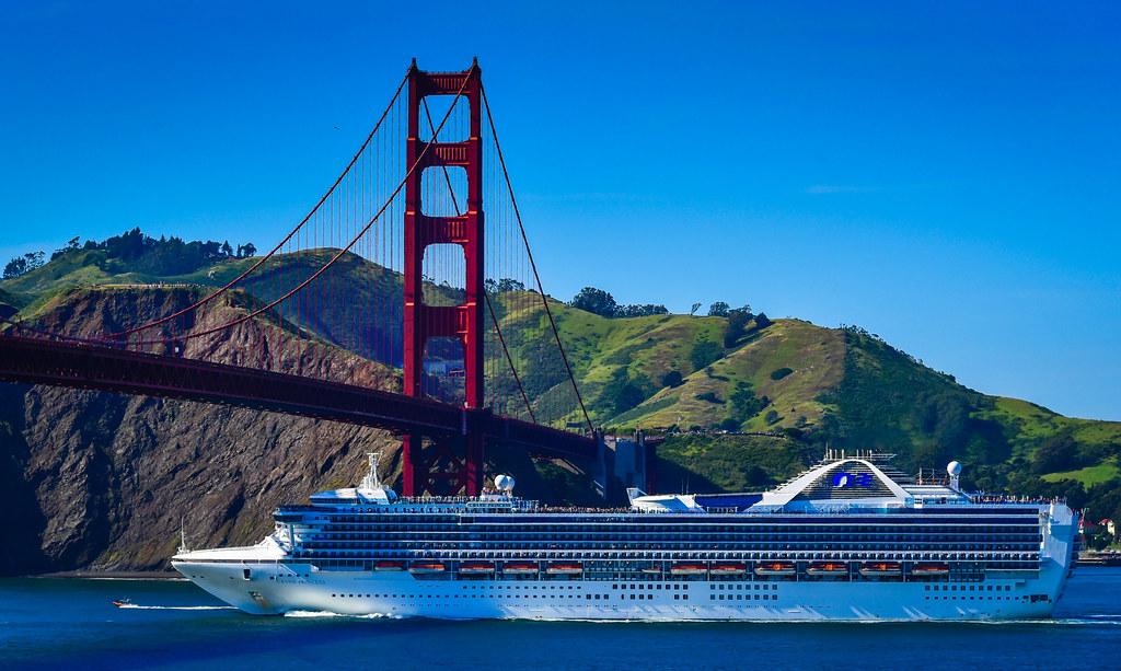 Golden Gate Bridge With Grand Princess Cruise Ship San F