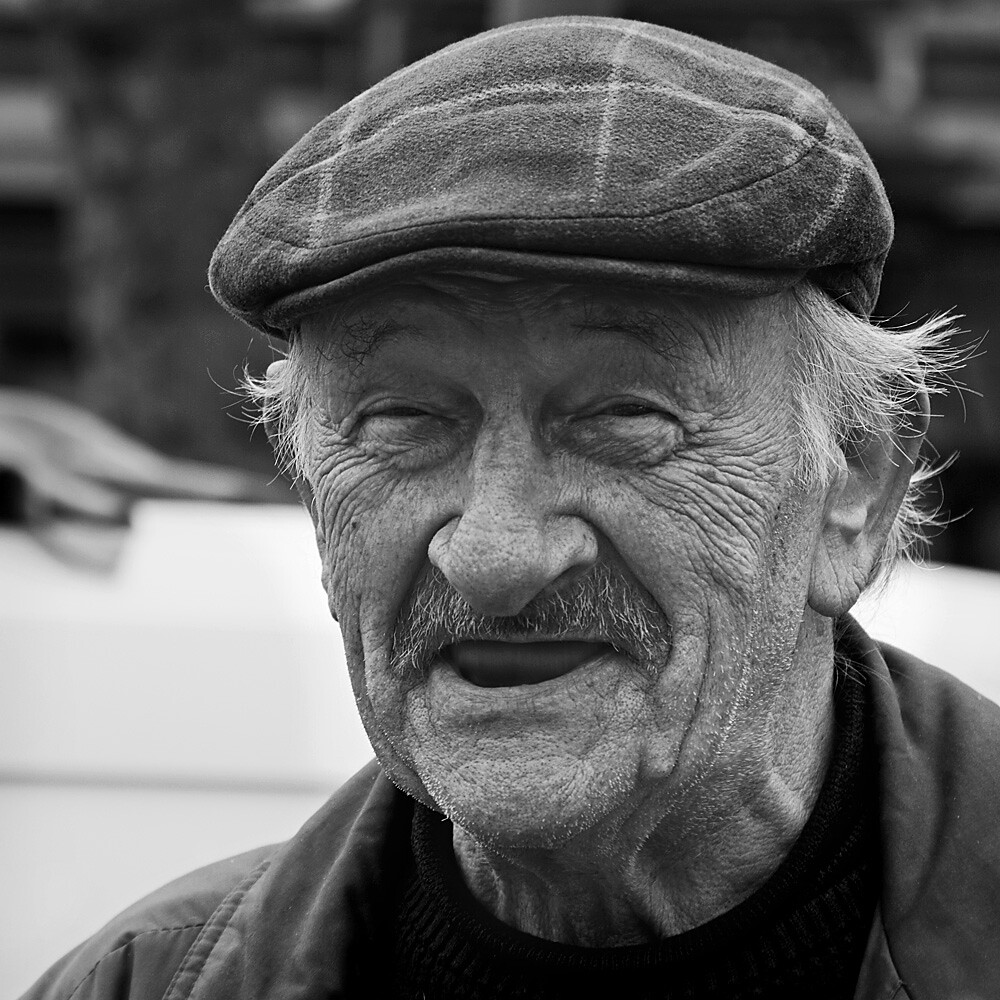Old Man Portrait Black And White The happy old man Old Man Face Smiling