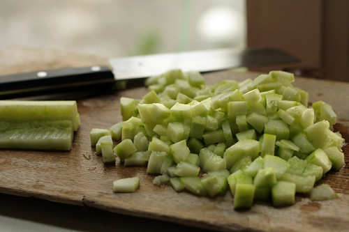 chopped cucumbers | by David Lebovitz