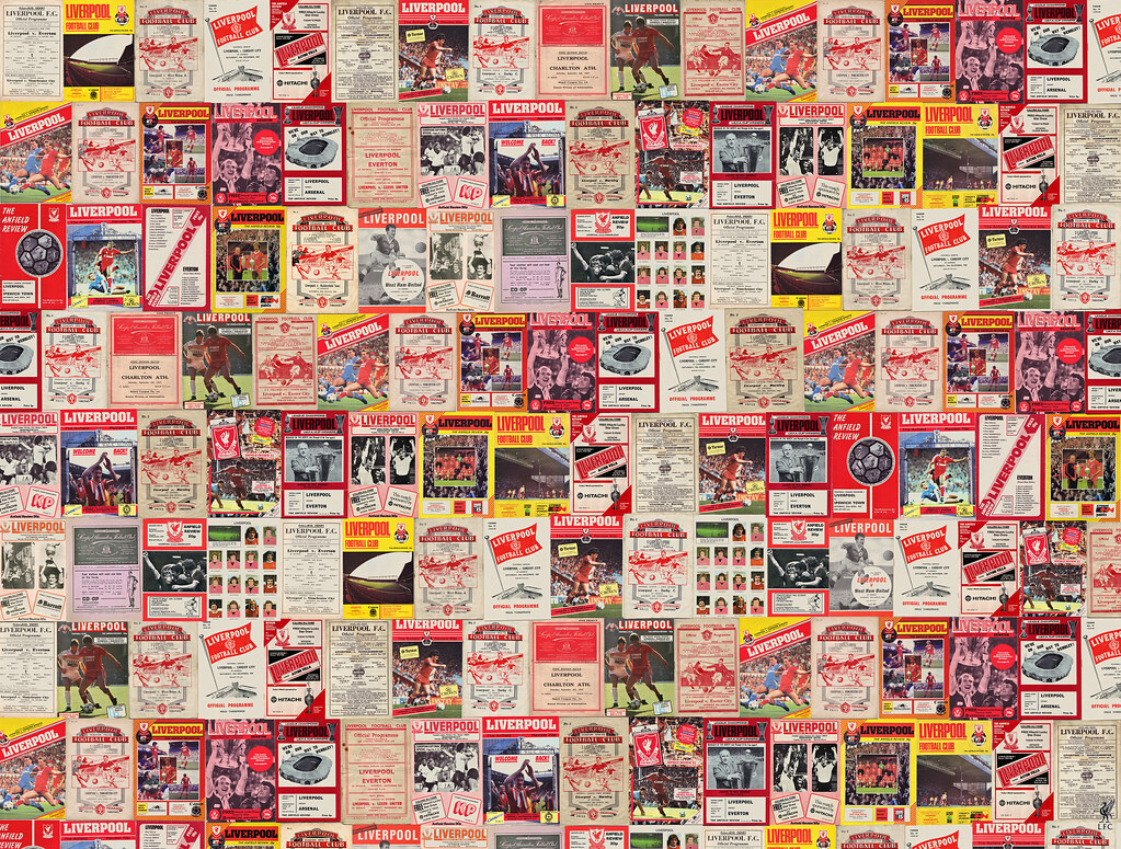 Liverpool vintage programmes wallpaper mural sportswalls for Antique wallpaper mural