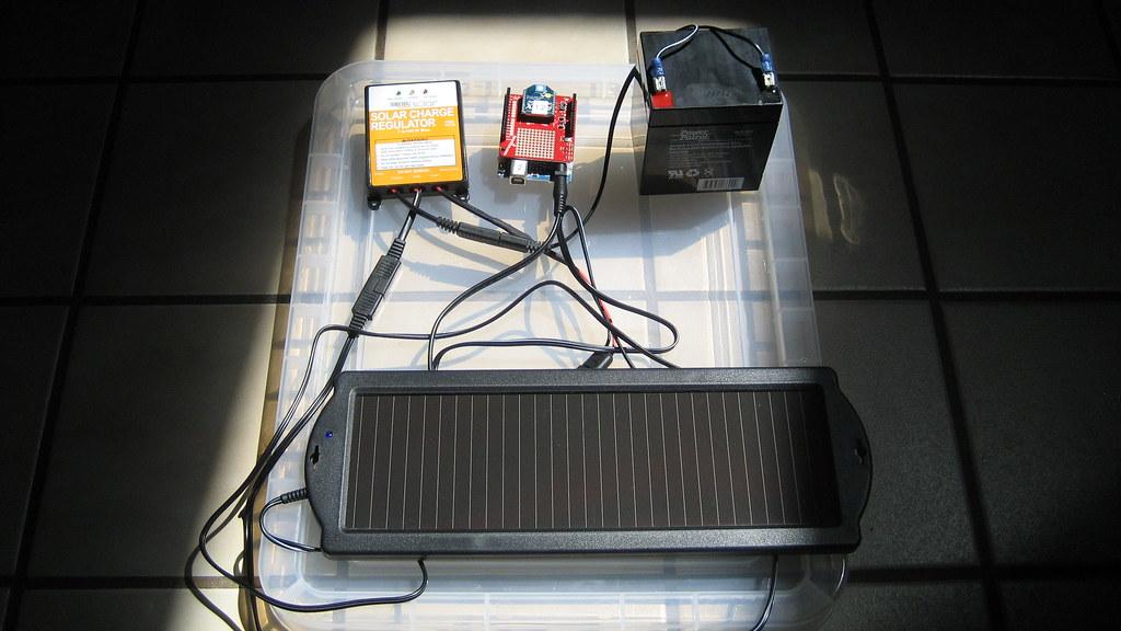Solar battery powered arduino with zigbee clockwise