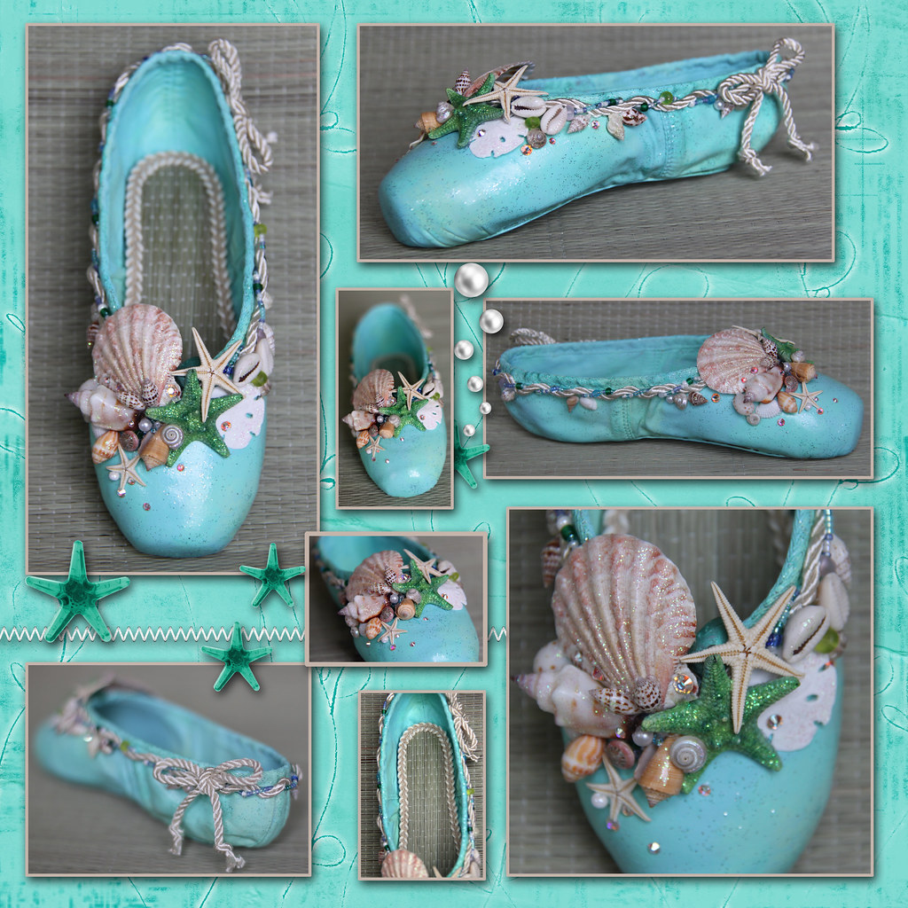 Under the sea pointe shoes haylie 39 s sea shell pointe for Ballet shoes decoration