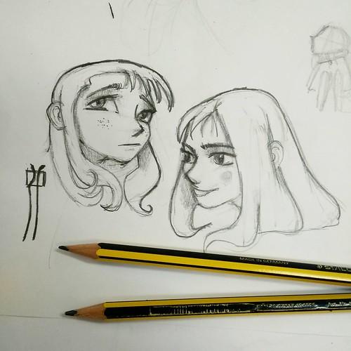Bocetos. Dos niñas