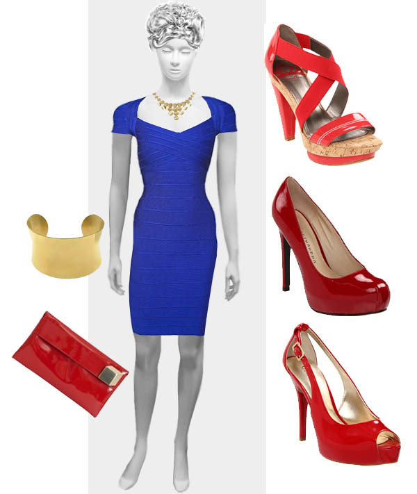Blue Dress With Red Shoes And Gold Jewelry Can You Wear