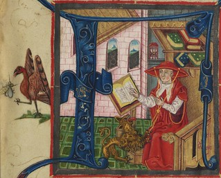 Illuminated Manuscript, Bible (part), St. Jerome in his study, Walters Manuscript W.805, fol. 1r detail | by Walters Art Museum Illuminated Manuscripts