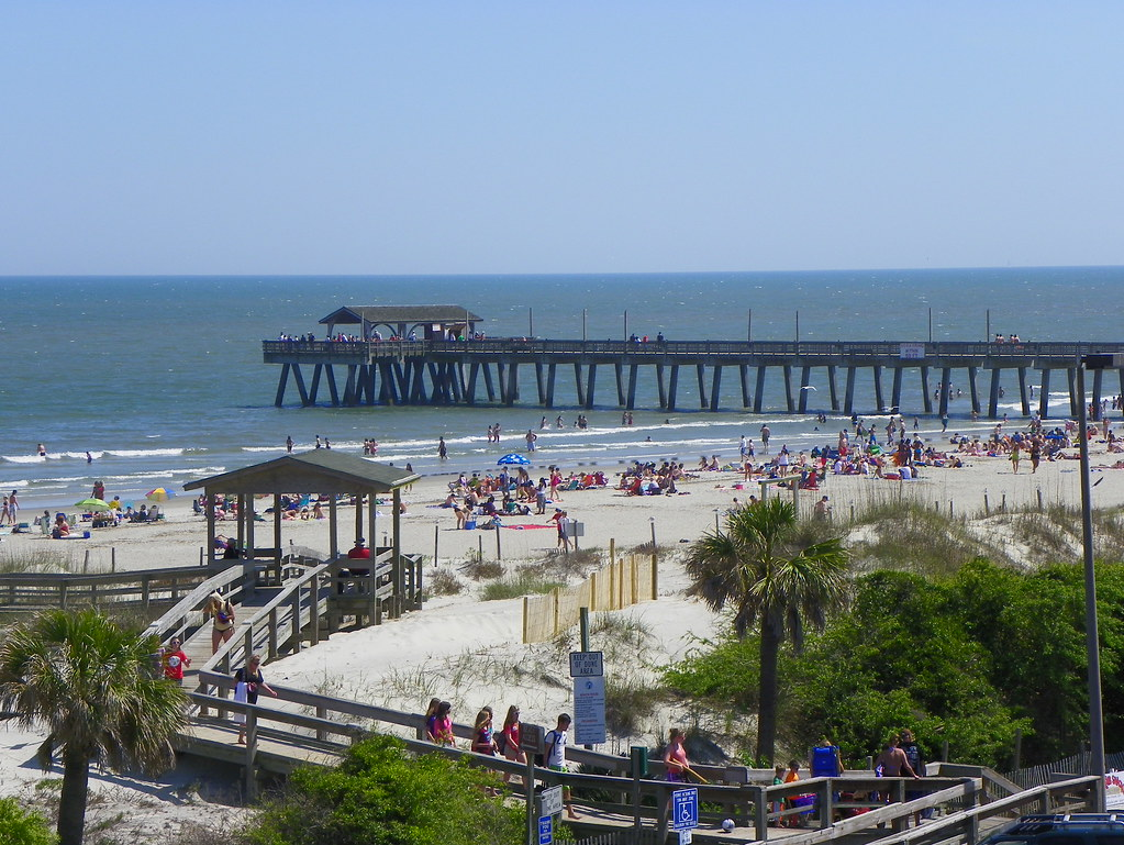 Boardwalk And Fishing Pier At Savannah Beach Tybee