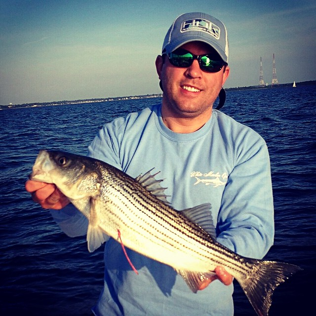 Photo courtesy of Billy Fox, holding a striped bass.