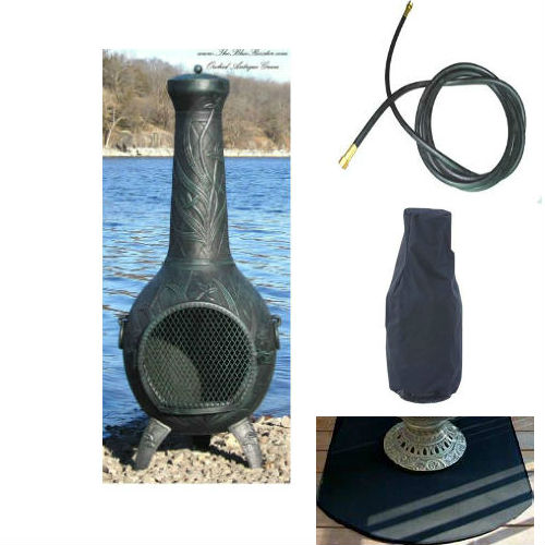 QBC Bundled Blue Rooster Orchid Chiminea with Propane Gas Kit, Half Round Flexbile Fire Resistent Chiminea Pads, 20 ft Gas line, and Free Cov Antique Green Color - Plus Free QBC Metal Chiminea Guide