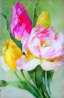 Art: Watercolour....poetic and nostalgic tulip bunch ! HAPPY EASTER TO ALL MY FRIENDS ! | by Nadia Minic