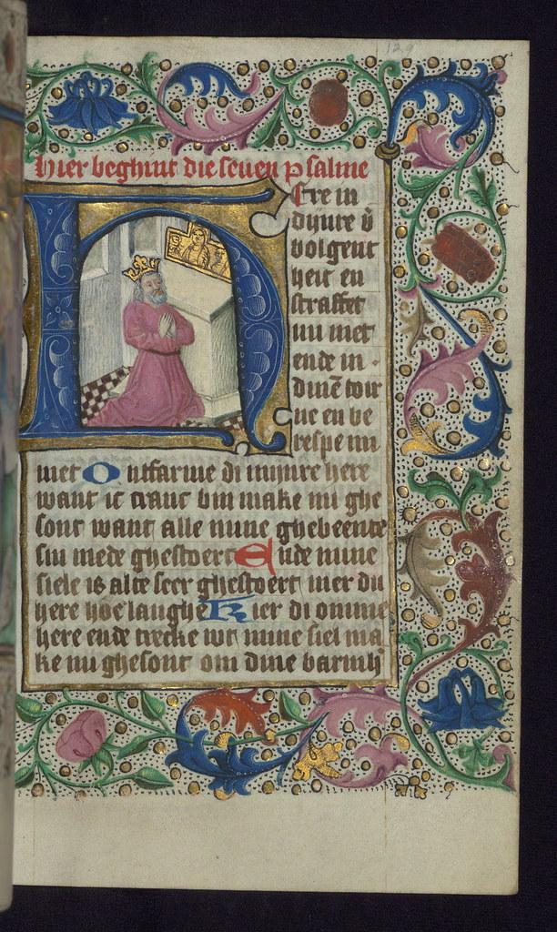 Illuminated Manuscript, Book of Hours in Dutch, Initial H
