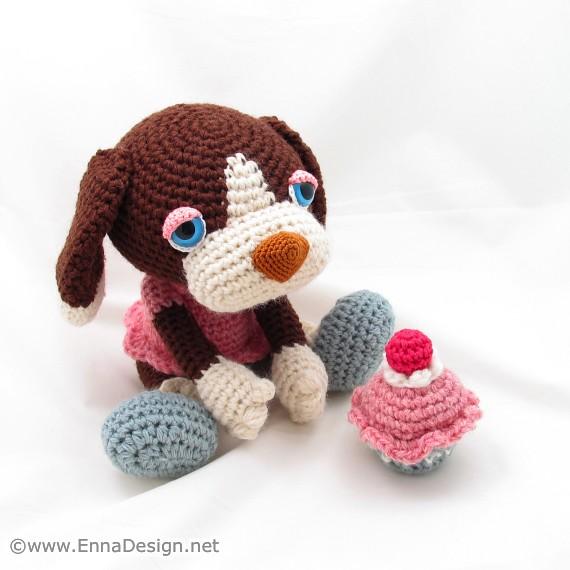 Free Amigurumi Scrump Pattern : Crochet Amigurumi Dog Art Doll Toy with Cherry Cupcake ...