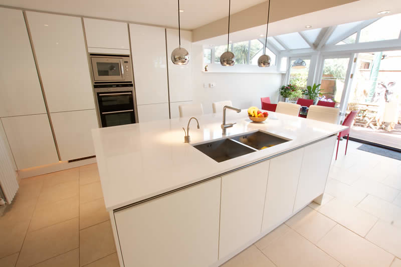 White Gloss Kitchen With Dark Wood Worktop