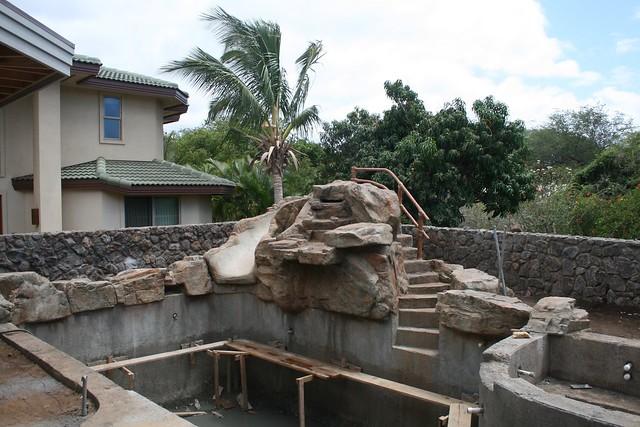 Custom Waterfall W Slide Concrete Bamboo Hand Rail