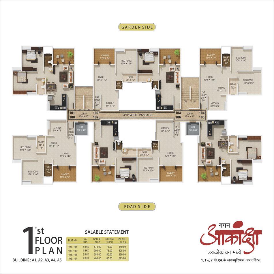 1st floor plan gagan akanksha 1 bhk 1 5 bhk 2 bhk fla for 1 bhk flat floor plan