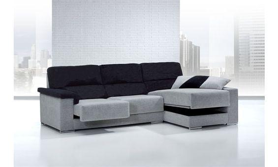 Sofa dos plazas con asientos deslizantes chaise longue de for Sofa 4 plazas asientos deslizantes