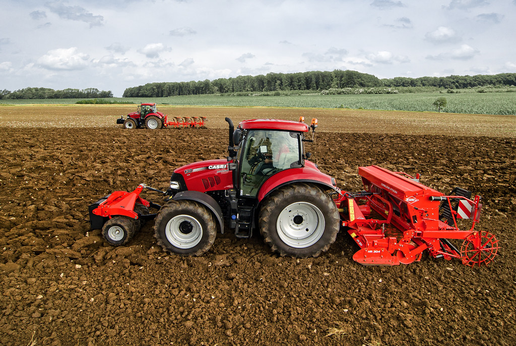 Two Case Ih Maxxum 130 Cvx With Seeder And Plough
