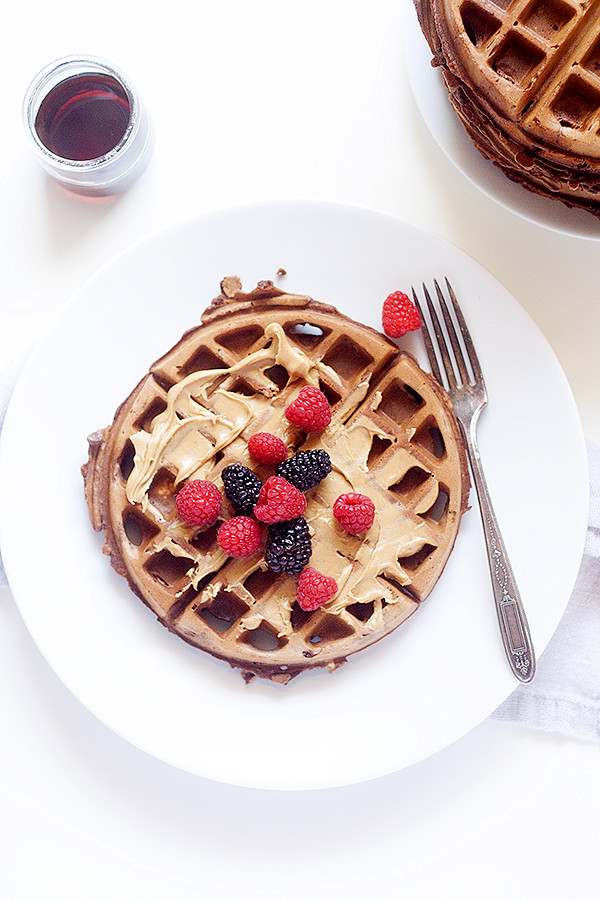 breakfast of champions | chocolate peanut butter waffles