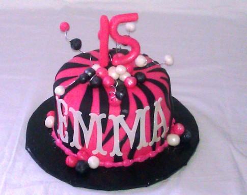 Pink Zebra Print Cake Hot pink zebra print cake. 7 inch ...