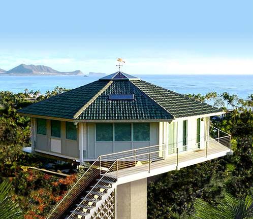 Hawaiian mountain side prefab pedestal home by topsider ho for Prefab tropical homes