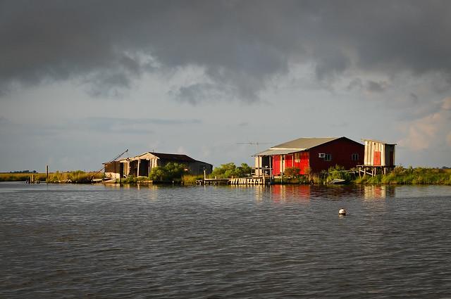 South louisiana fishing hunting camp in morning storm ligh for Louisiana fishing camps
