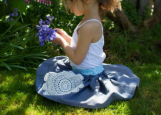 picking flowers in her doily skirt | by skirt_as_top