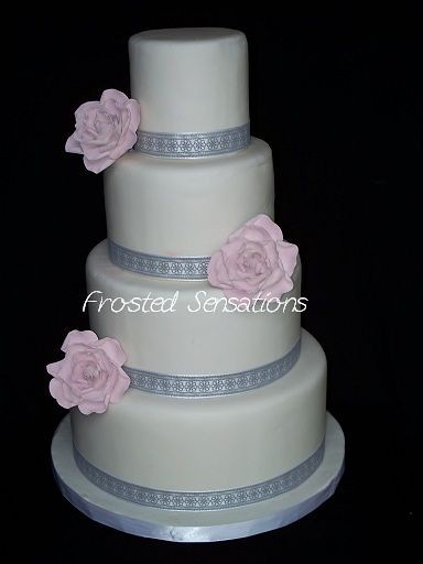 grey white and pink wedding cake gray with pink flowers wedding cake 4 tiered 14986