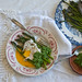 Roasted asparagus and poached eggs with nettle pesto