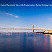 Bay Bridge Night Colors Panoramic View with Embarcadero Center Holiday Lights San Francisco
