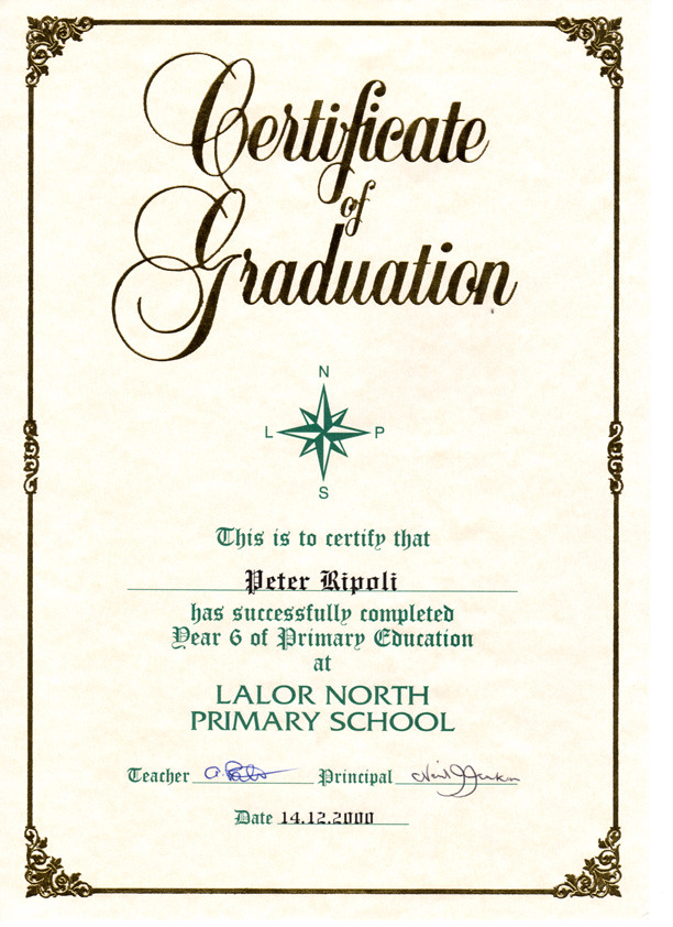 Peter RipoliS Graduation Certificate From Lalor North Pri  Flickr