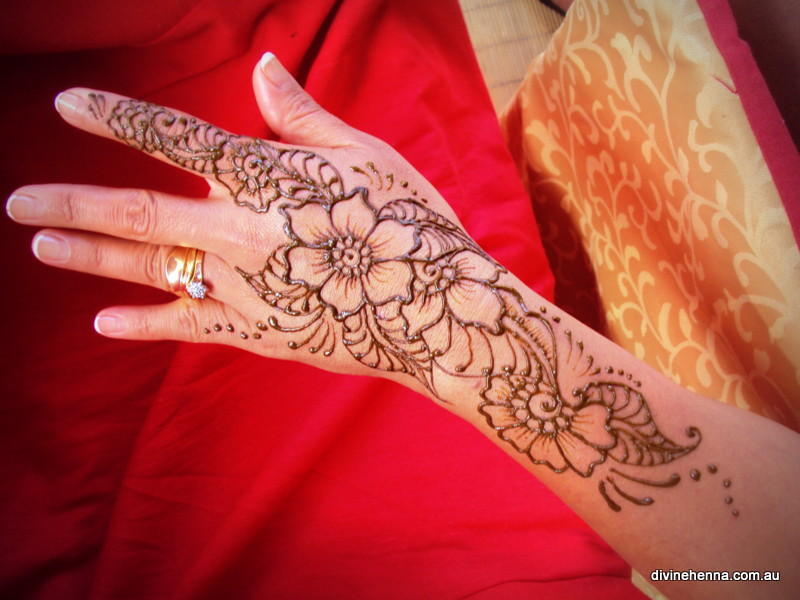 Long Henna Design Finger To Arm