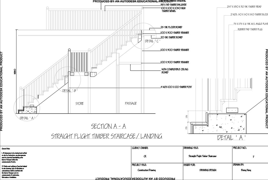Straight Flight Timber Staircase Landing And Detail A